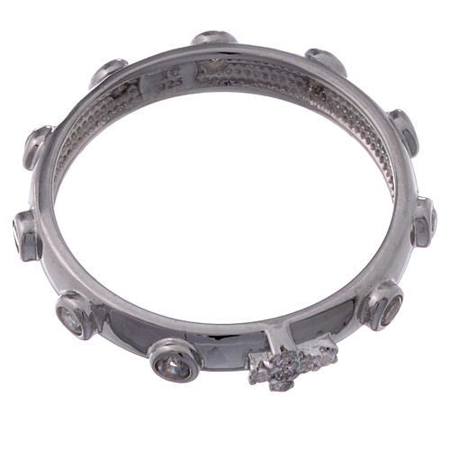 Rosary Ring AMEN rhodium-plated silver 925, white zircons 2