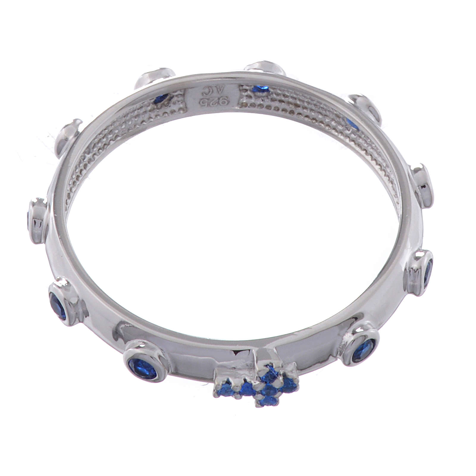 Anillo rosario AMEN plata 925 circones azules Rodio 3