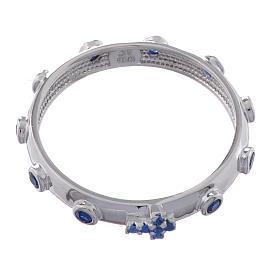 Anillo rosario AMEN plata 925 circones azules Rodio s2