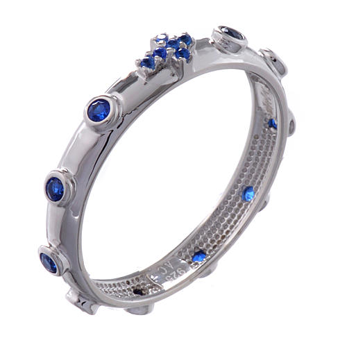 Anillo rosario AMEN plata 925 circones azules Rodio 1