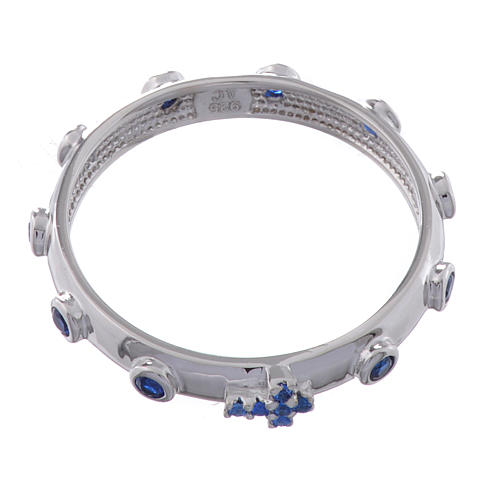 Anillo rosario AMEN plata 925 circones azules Rodio 2