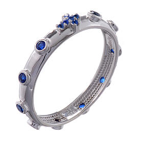 Bague chapelet AMEN argent 925 zircons bleus Rhodium s1