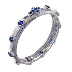Anello rosario AMEN argento 925 zirconi blu Rodio s1