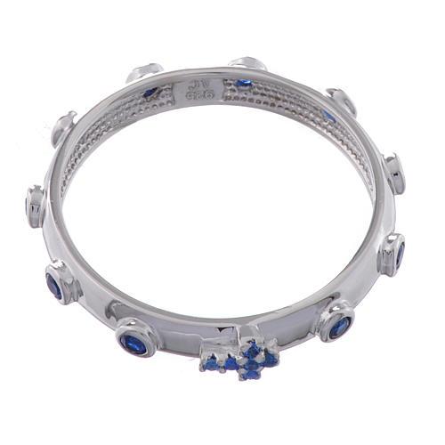Anello rosario AMEN argento 925 zirconi blu Rodio 2