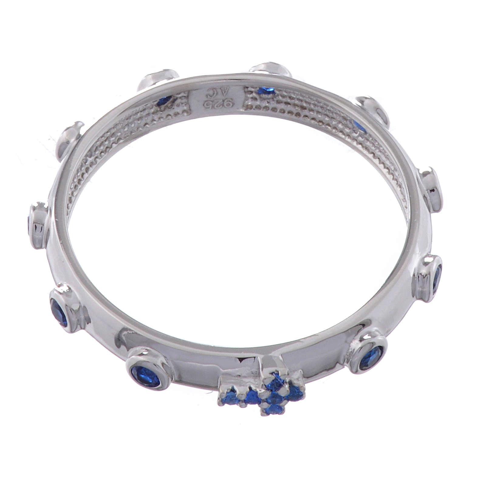 Rosary Ring AMEN rhodium-plated silver 925, blue zircons 3