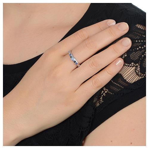 Rosary Ring AMEN rhodium-plated silver 925, blue zircons 4
