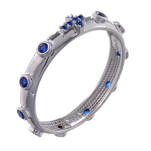 Rosary Ring AMEN rhodium-plated silver 925, blue zircons 1