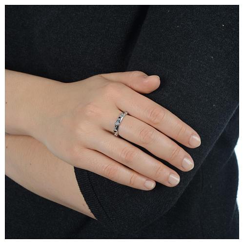 Rosary Ring AMEN rhodium-plated silver 925, black zircons 4
