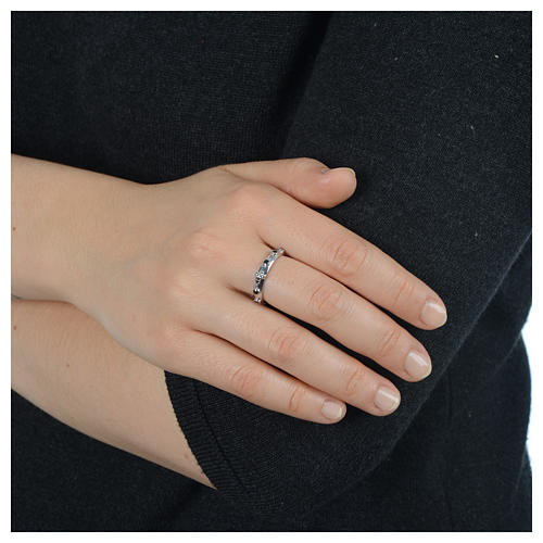 Anello rosario AMEN argento 925 zirconi neri Rodio 4