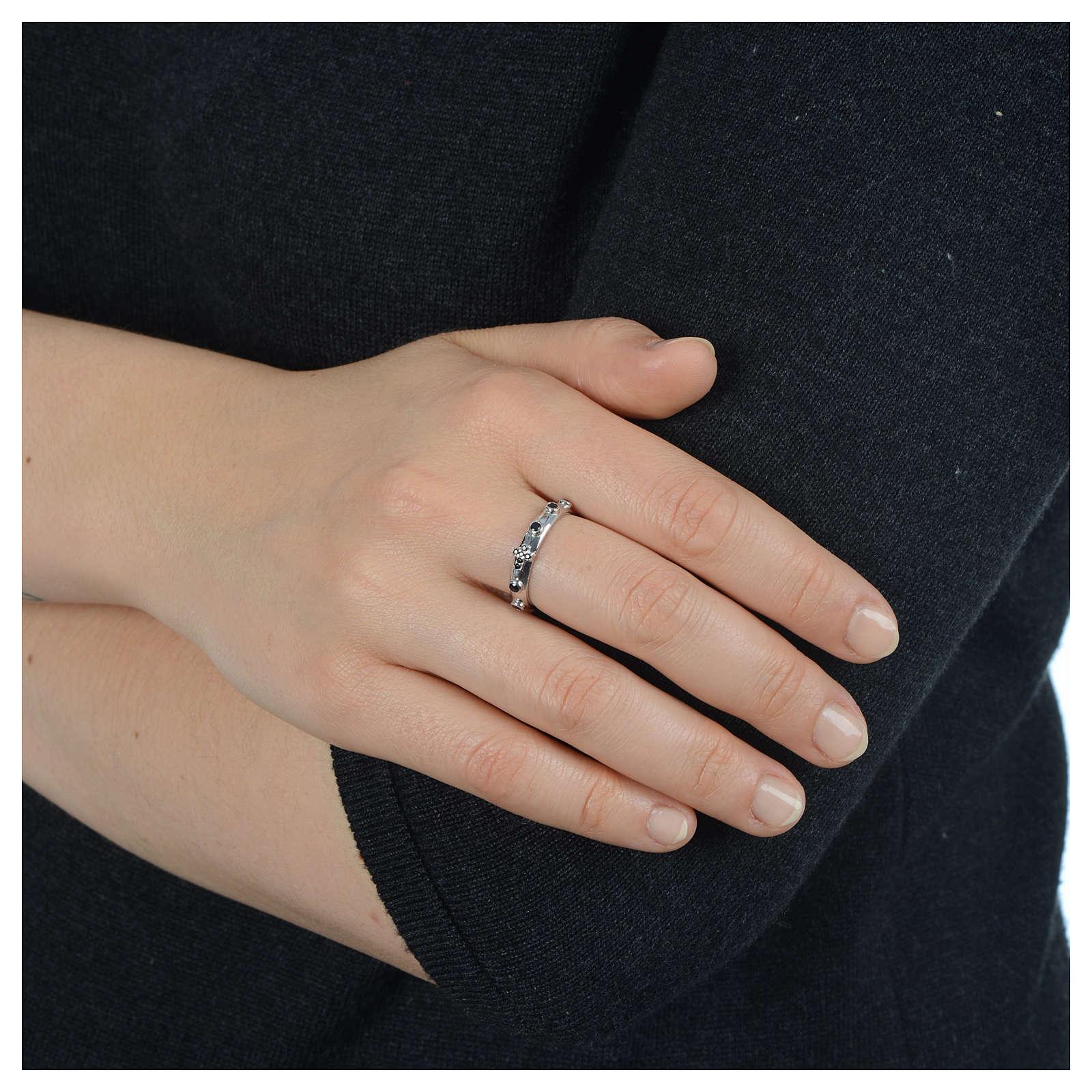 Rosary Ring AMEN rhodium-plated silver 925, black zircons 3