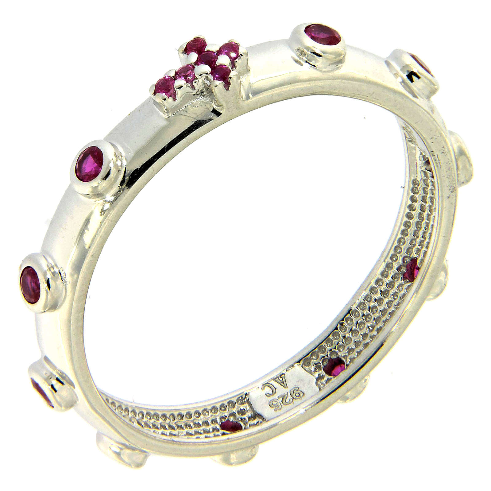 Rosary Ring AMEN rhodium-plated silver 925, red zircons 3