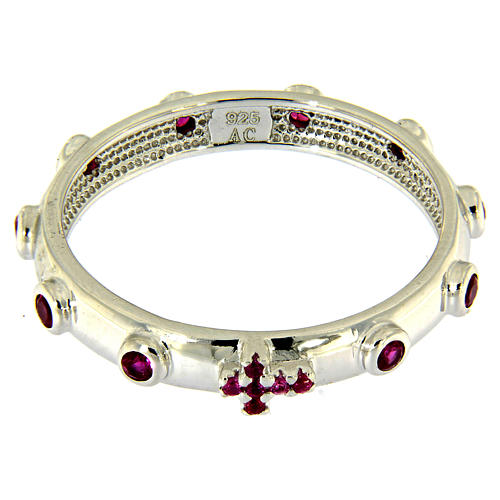 Rosary Ring AMEN rhodium-plated silver 925, red zircons 2
