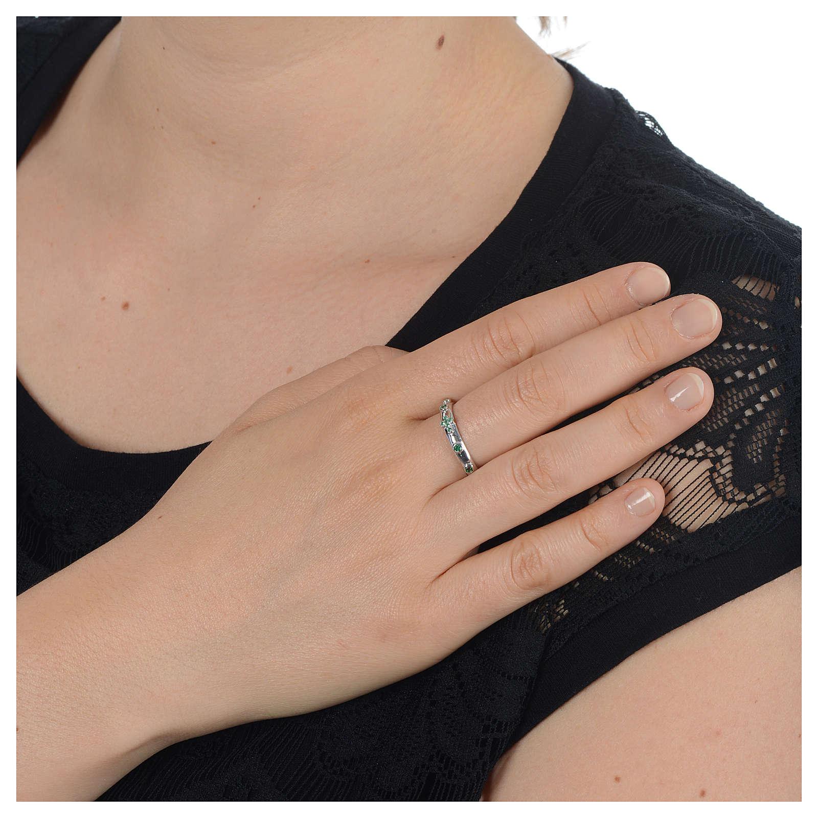 Rosary Ring AMEN rhodium-plated silver 925, green zircons 3