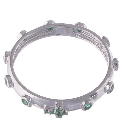 Rosary Ring AMEN rhodium-plated silver 925, green zircons 2