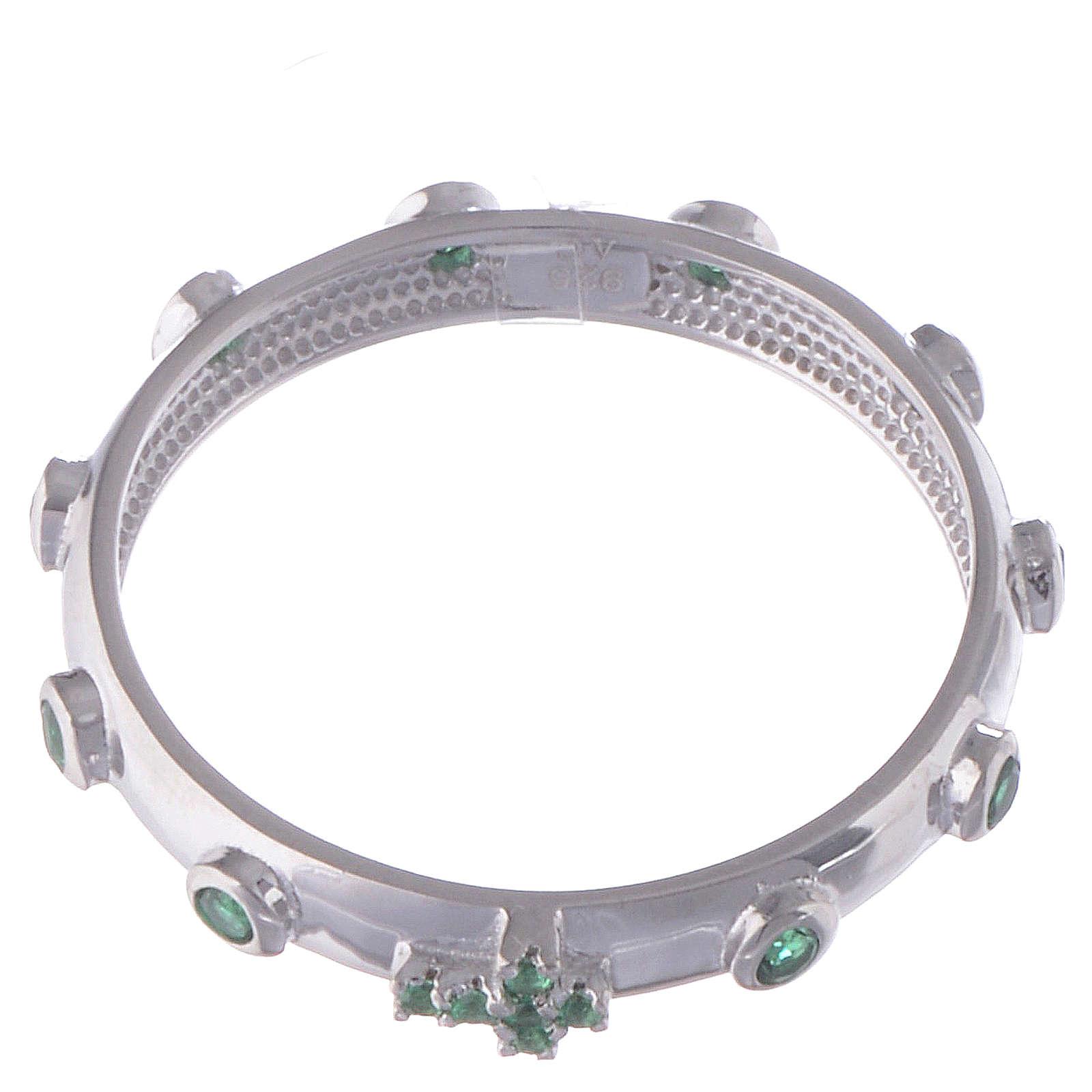 Anillo rosario AMEN plata 925 circones verdes y Rodio 3