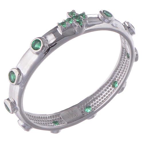 Anillo rosario AMEN plata 925 circones verdes y Rodio 1