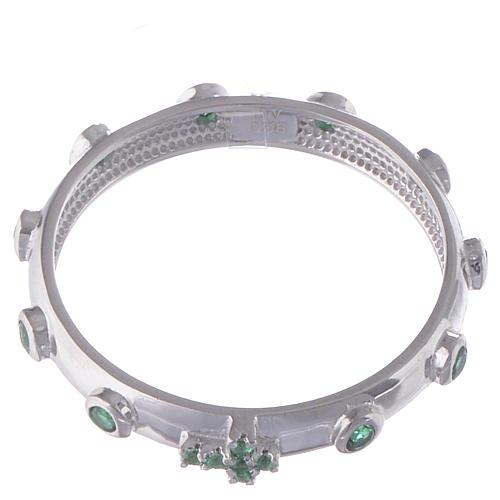 Anillo rosario AMEN plata 925 circones verdes y Rodio 2