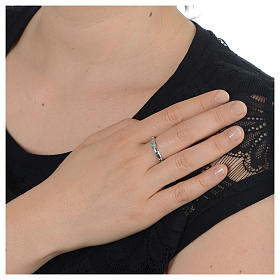Anello rosario AMEN argento 925 zirconi verdi Rodio s4