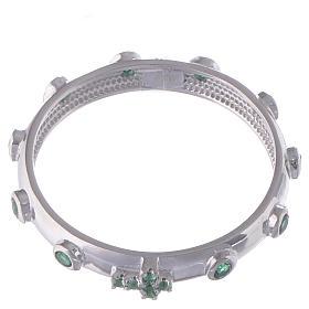 Anello rosario AMEN argento 925 zirconi verdi Rodio s2