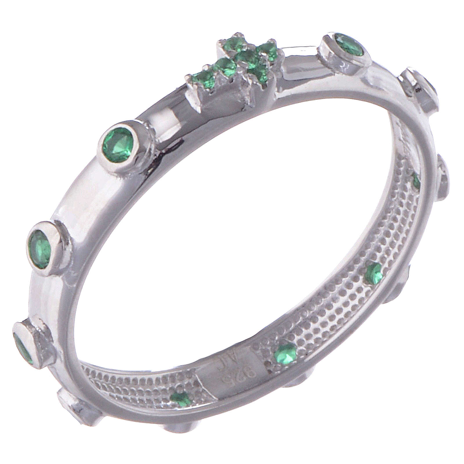 Rosary Ring AMEN rhodium-plated silver 925, green zircons 3