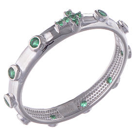 Rosary Ring AMEN rhodium-plated silver 925, green zircons s1