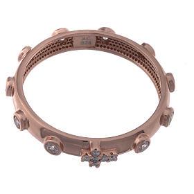 Anillo rosario AMEN plata 925 rosado circones blancos s2