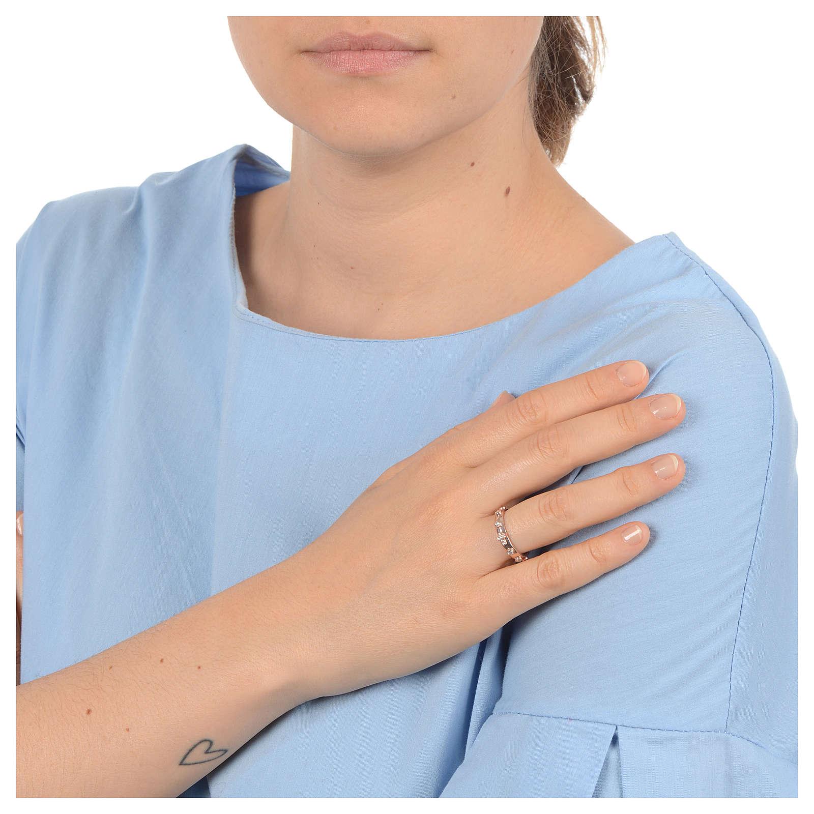 Anello rosario AMEN argento 925 zirconi bianchi Rosè 3