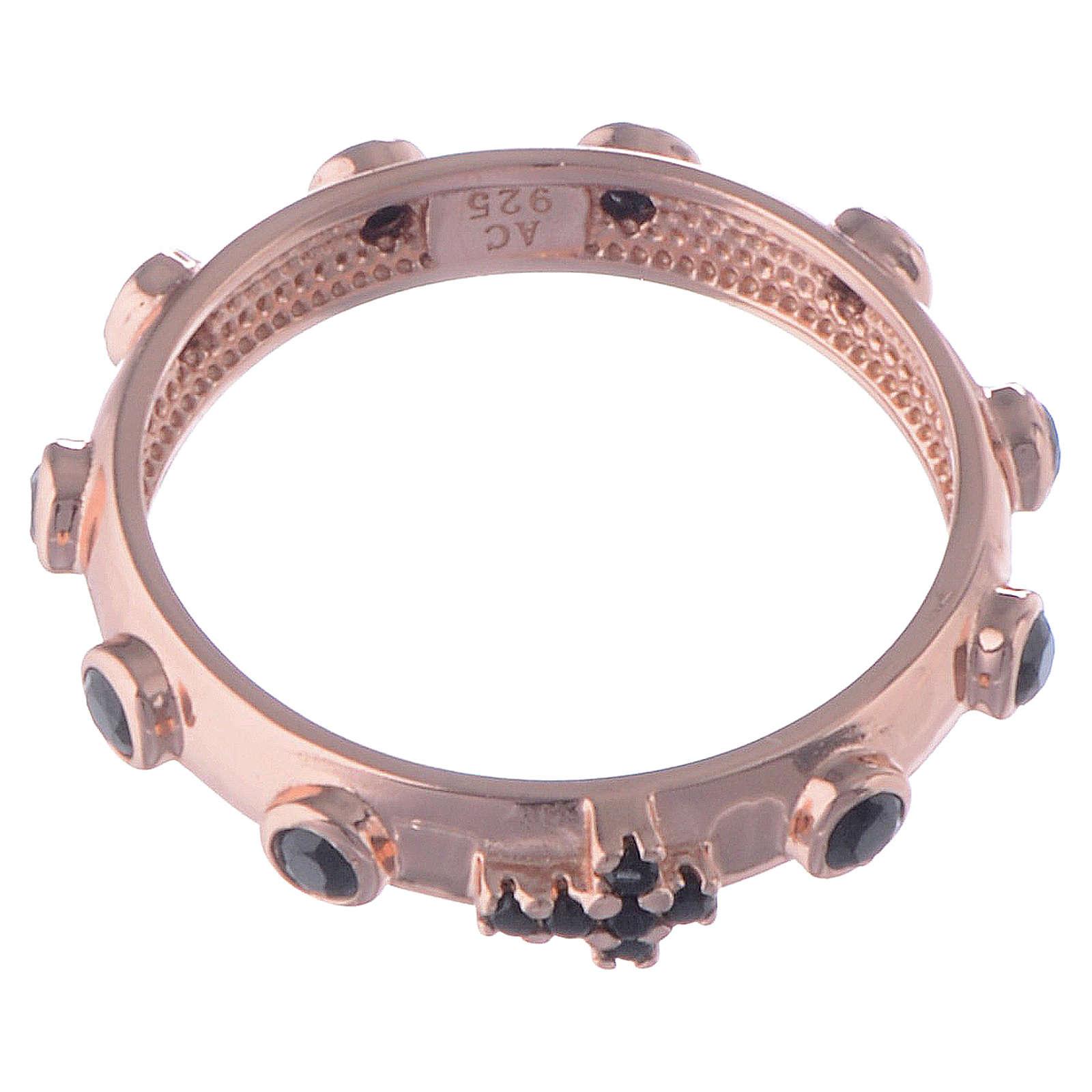 Anillo rosario AMEN plata 925 rosado circones negros 3