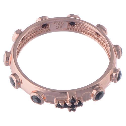 Anillo rosario AMEN plata 925 rosado circones negros 2