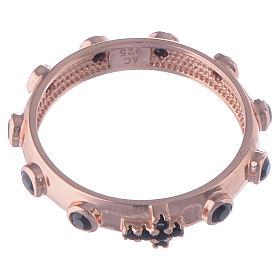 Anello rosario AMEN argento 925 zirconi neri Rosè s2