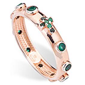 Rosary Ring AMEN rosè silver 925, green zircons 2