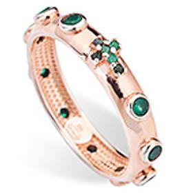 Rosary Ring AMEN rosè silver 925, green zircons s2