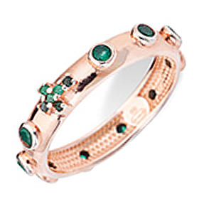 Rosary Ring AMEN rosè silver 925, green zircons s1