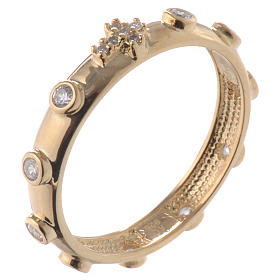 Anello rosario AMEN argento 925 zirconi bianchi Oro s1