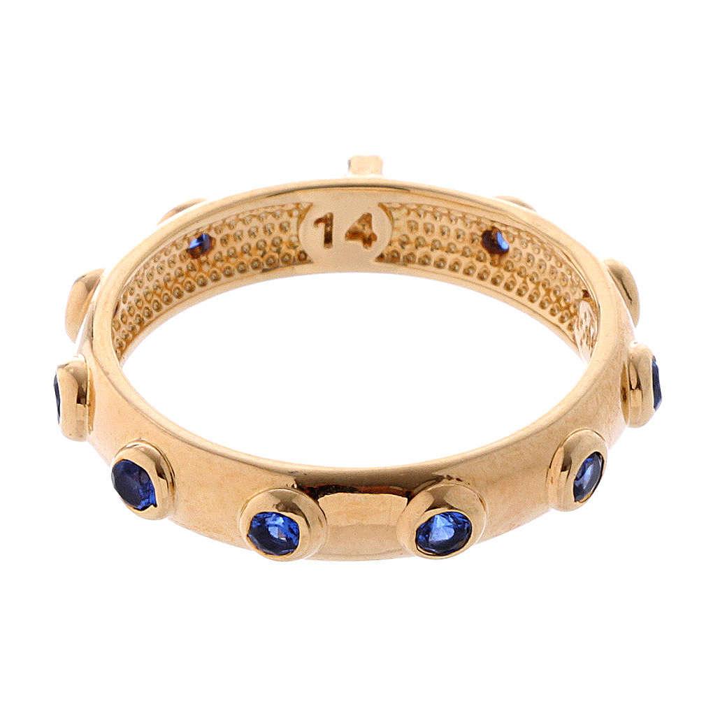 Anillo rosario AMEN plata 925 dorado circones azules 3