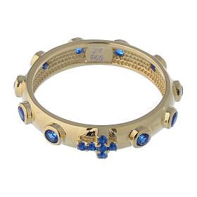 Anillo rosario AMEN plata 925 dorado circones azules s2
