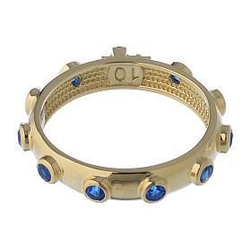 Anillo rosario AMEN plata 925 dorado circones azules s5