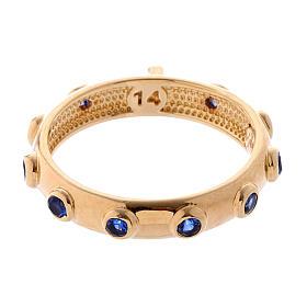 Anillo rosario AMEN plata 925 dorado circones azules s3