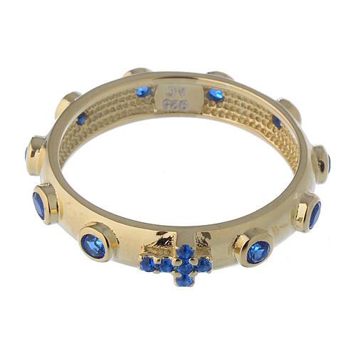 Anillo rosario AMEN plata 925 dorado circones azules 2