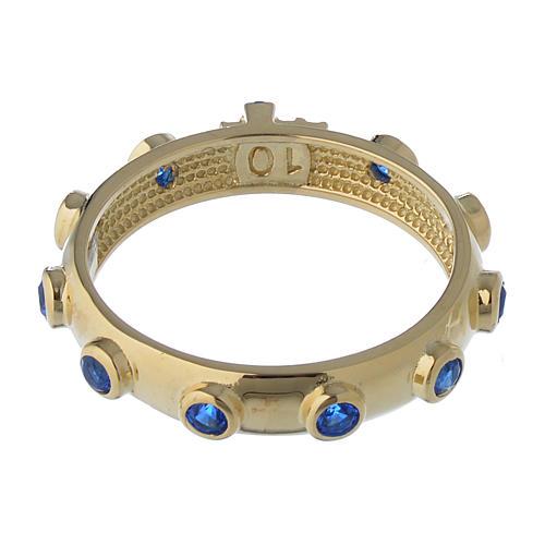 Anillo rosario AMEN plata 925 dorado circones azules 5