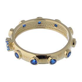 Anello rosario AMEN argento 925 zirconi blu Oro s4