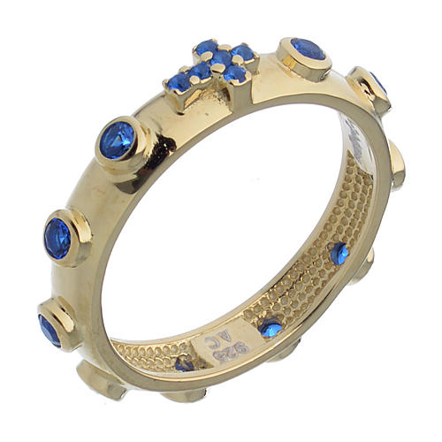 Anello rosario AMEN argento 925 zirconi blu Oro 1
