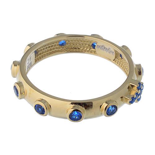 Anello rosario AMEN argento 925 zirconi blu Oro 3