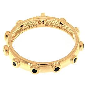 Rosary Ring AMEN gilded silver 925, black zircons s3