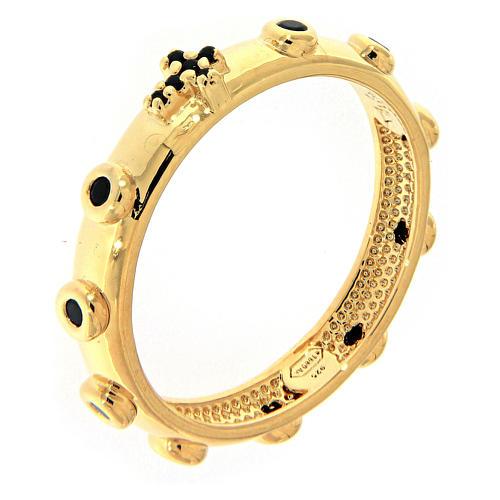Rosary Ring AMEN gilded silver 925, black zircons 1