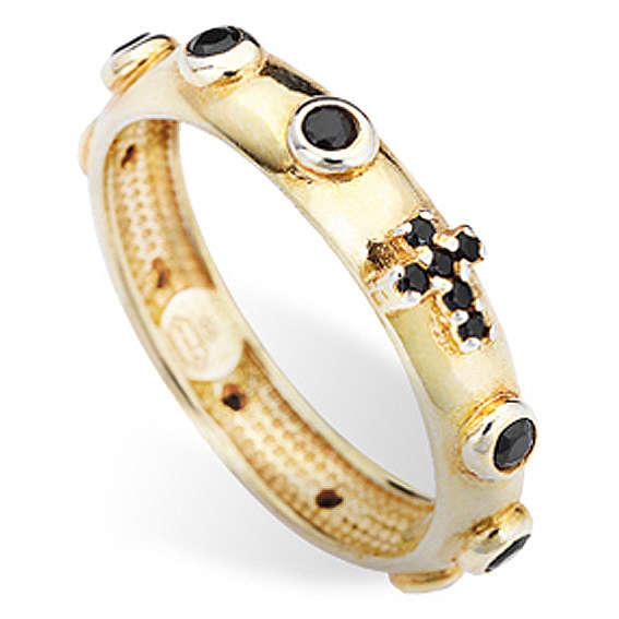 Anillo rosario AMEN dorado de plata 925 circones negros 3