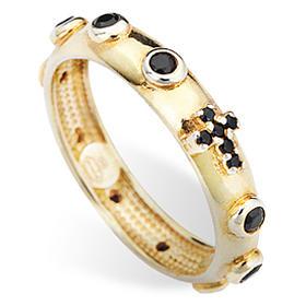 Anillo rosario AMEN dorado de plata 925 circones negros s2