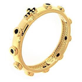 Anillo rosario AMEN dorado de plata 925 circones negros s1