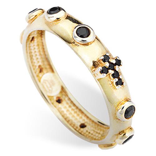 Anillo rosario AMEN dorado de plata 925 circones negros 2