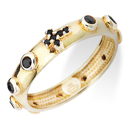 Anillo rosario AMEN dorado de plata 925 circones negros 1